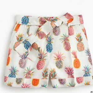 J.Crew Tie-Waist Short in Ratti Painted Pineapple